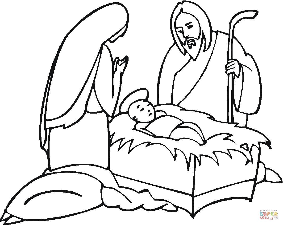 Dibujo De Jose Y Maria Junto Al Pequeno Jesus Para Colorear