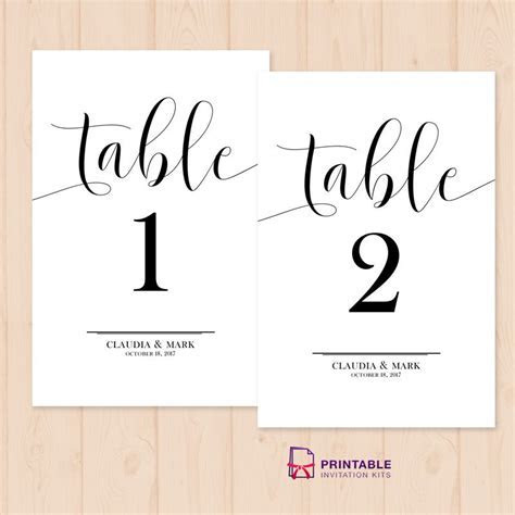 Table Numbers Free Printable PDF Template   easy to edit