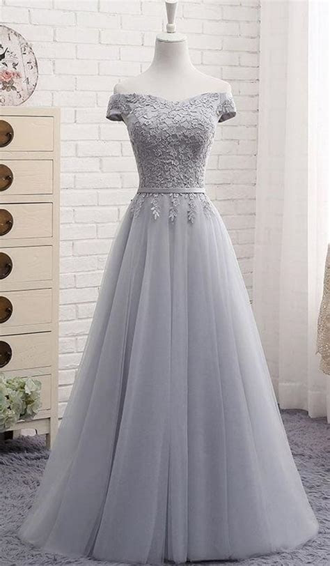 Tulle Prom Dress,Lace Prom Dress,Gray tulle by prom