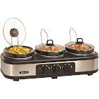 Bella 1.5-Quart Triple Slow Cooker, Stainless Steel/Black