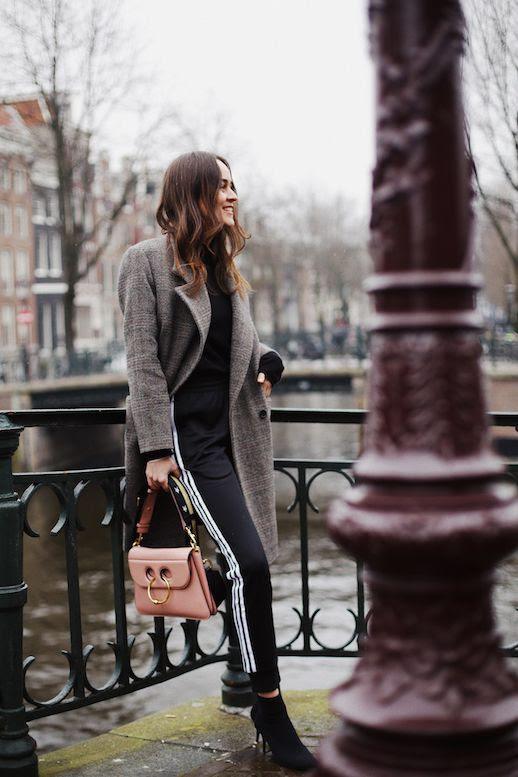 Le Fashion Blog Casual Athleisure Plaid Wool Coat Black Mockneck Sweater Black Adidas Track Pants JW Anderson Purse Black Heeled Booties Via Style Scrapbook