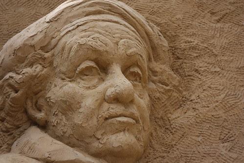 Self protrait Rembrandt - Escultura de areia, Haia - 2010