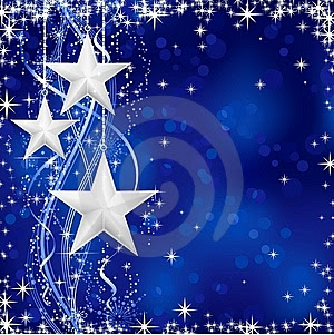 Silver Christmas stars on blue background