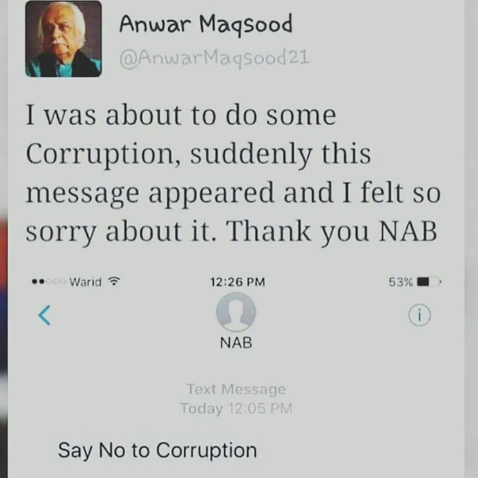 Anwar Maqsood About Say No To Corruption Pakistan Images Photos