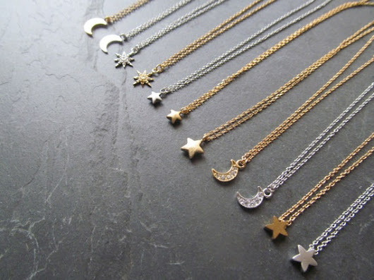 moon and star necklace celestial necklace dainty by twixtdesigns