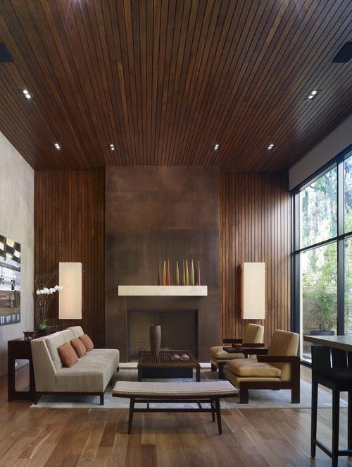 William Hefner Architecture Interiors & Landscape  balancing wood tones