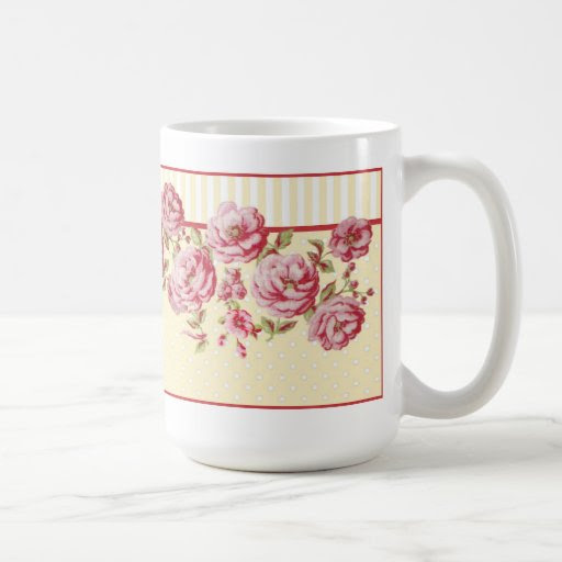 Dots and Stripes Floral Mug in Yellow
