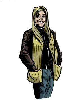 Main heroine of Handknit Heroes with her hooded scarf