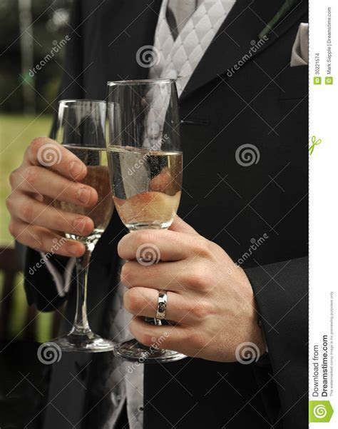Mens Hands With Champagne Glasses Stock Images   Image
