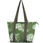 """Zodaca Large Reusable Insulated Leak Resistant Lunch Tote Carry Organizer Zip Cooler Storage Bag (Size: 15"""" x 5"""" x 10"""") - Green Turtle"""