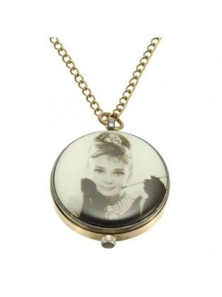 Vintage Audrey Hepburn Pattern Necklace Pocket Watch