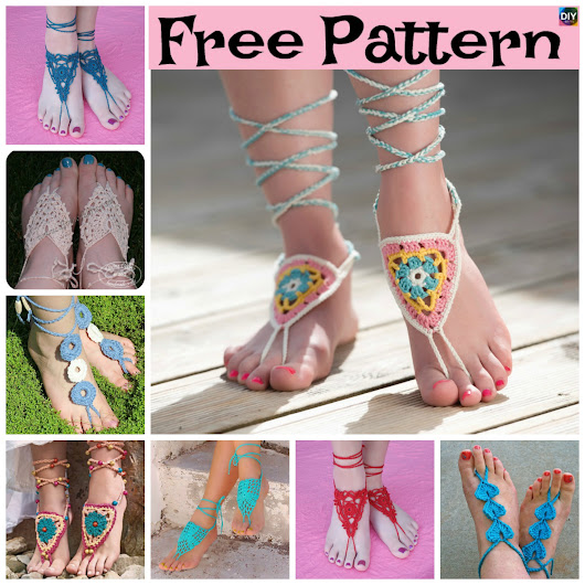 10 Most Unique Crochet Barefoot Sandals - Free Patterns - DIY 4 EVER