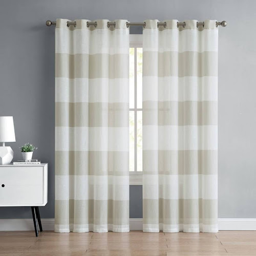Mainstays Austin Semi Sheer Stripe Grommet Top Window Curtain Panel, Multiple Sizes and Colors Available, Size: 54 inch x 96 inch, White
