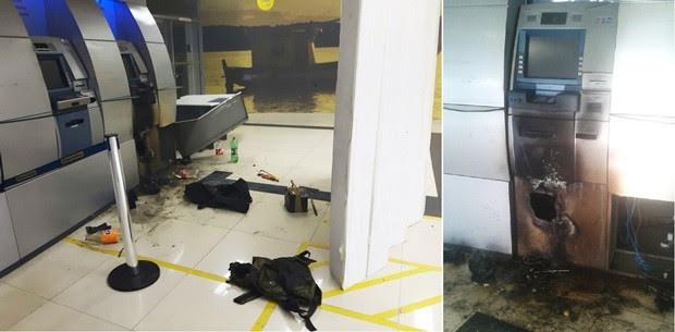 Um dos terminais foi arrombado, mas os criminosos fugiram sem levar o dinheiro   (Foto: PM/Divulgação)
