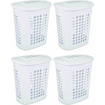 Sterilite Bushell 24 in Tall Lift Top XL Laundry Basket Hamper, White (4 Pack) by VM Express