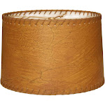 Royal Designs Shallow Drum Lamp Shade, Dark Brown Faux Leather with Lace, 13 x 14 x 9
