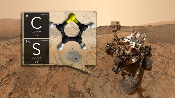 An image showing the drill site where NASA's Curiosity Mars rover found organic matter at Gale Crater, Curiosity's landing site.