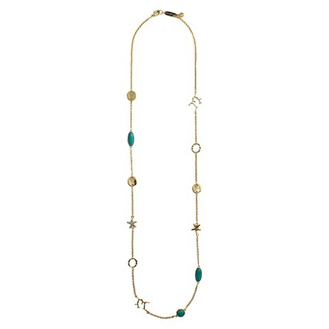 Lilly Pulitzer for Target Women's Necklace 19in - Gold & Turquoise
