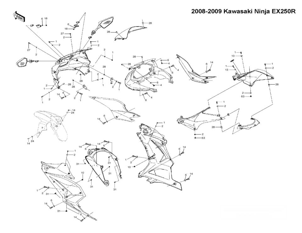 Wiring Diagram: 34 Kawasaki Ninja 250 Parts Diagram