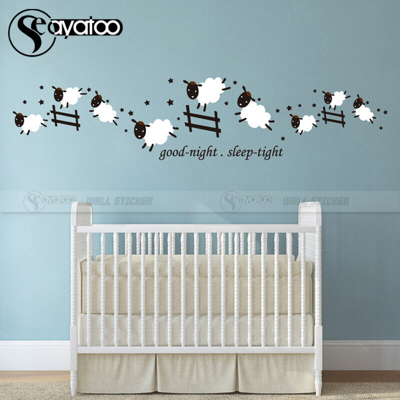 Count Jumping Sheep Good Night Sleep Tight Vinyl Wall Sticker Decal Kids Room  eBay