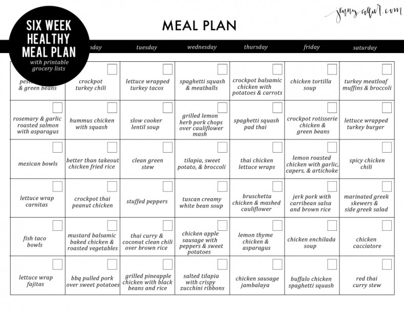 Six week healthy meal plan with free printable grocery lists ...