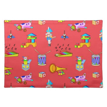 Toys - Purple Drums and Golden Horns Place Mat
