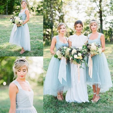 Ice Blue Country Bridesmaid Dresses 2017 New Arrival
