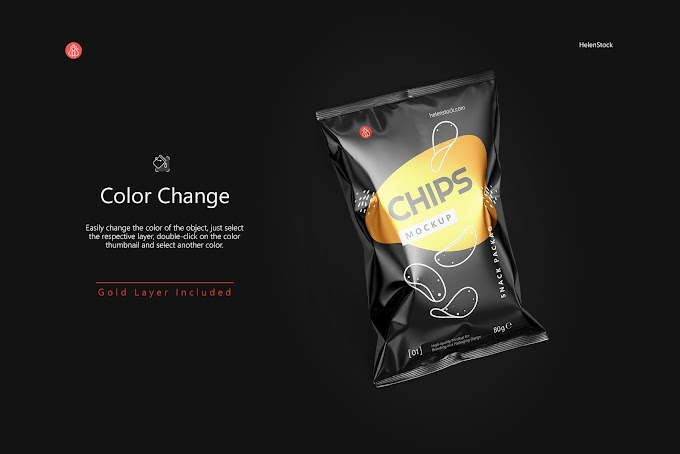 Tilted Glossy Snack Package Mockup[Photoshop][4941885]