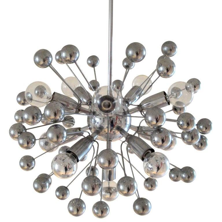 French Chrome Sputnik Chandelier