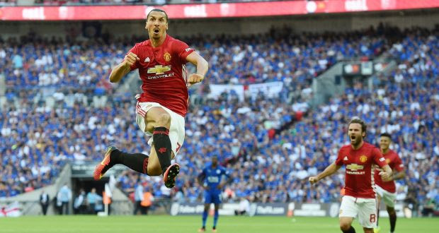 Manchester Utd's Zlatan Ibrahimovic celebrates after scoring against Leicester during the FA Community Shield between Manchester United and Leicester City at Wembley Stadium. Photo: Andy Rain/PA