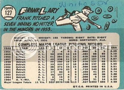 #127 Frank Lary (back)