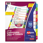 Customizable TOC Ready Index Multicolor Dividers, 1-10, Letter 11842