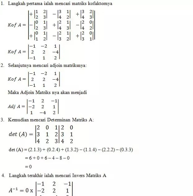 Matriks Invers Ordo 2x2 Ilmu Soal