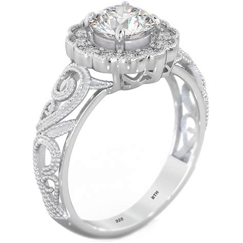 sterling silver cubic zirconia filigree wedding engagement