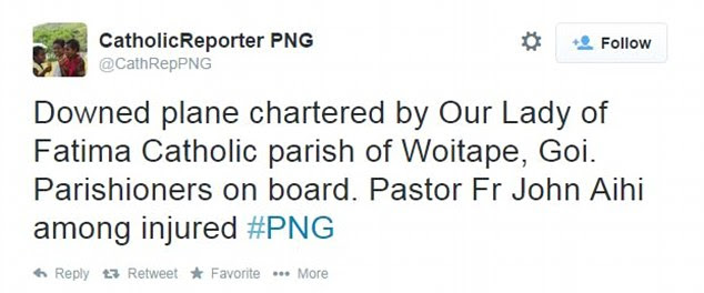 A reporter from PNG tweeted that the plane was charted by Our Lady of Fatima Catholic Parish