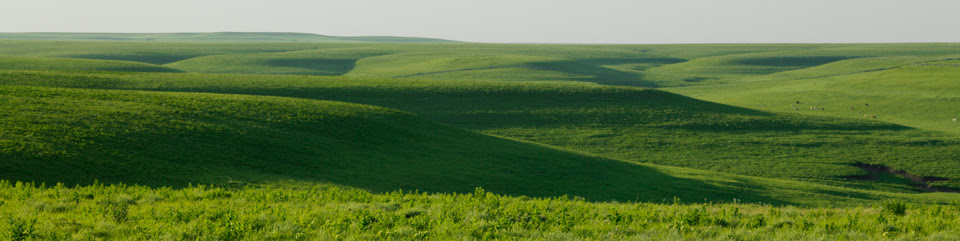 The setting sun over the Flint Hills casts shadows across the wide expanse of tallgrass prairie.
