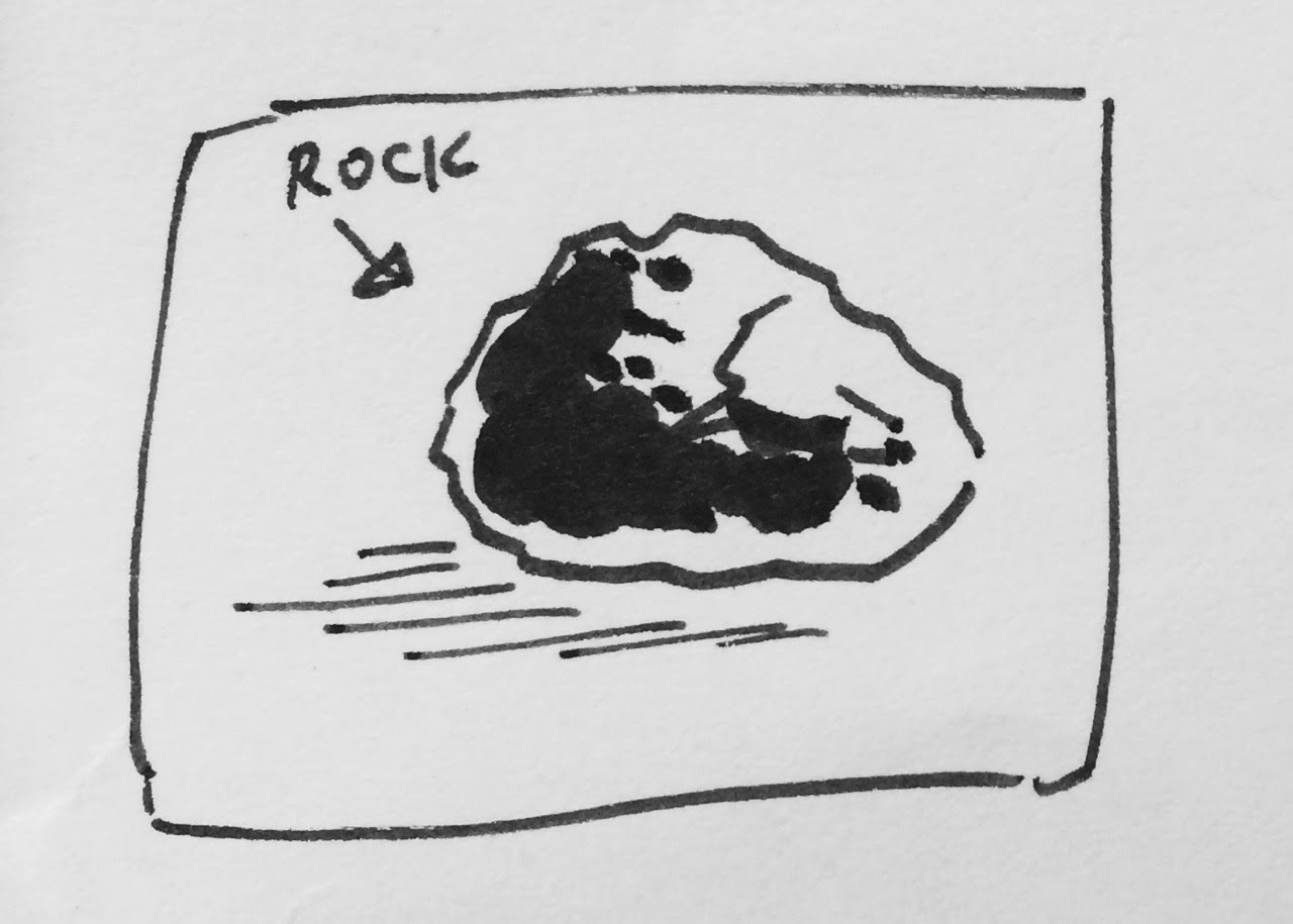 Inktober, day 9: rock. An extraterrestrial rock playing some rock music. Well, the other solution for this word of the day is much more… obvious.