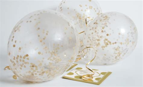 gold confetti filled balloons wedding anniversary