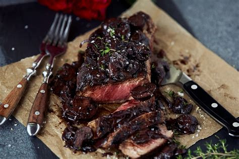 steak  red wine mushrooms recipe dishmaps