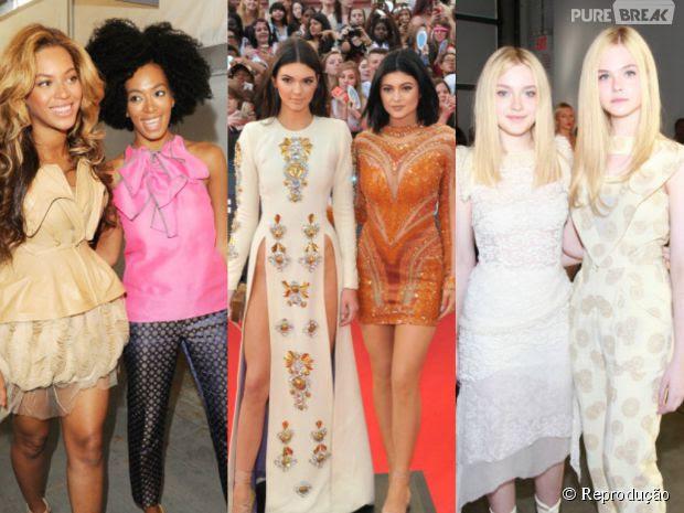 Irmãs que dominam o mundo! Kylie e Kendall Jenner! Beyoncé e Solange Knowles! E Dakota e Elle Fanning!