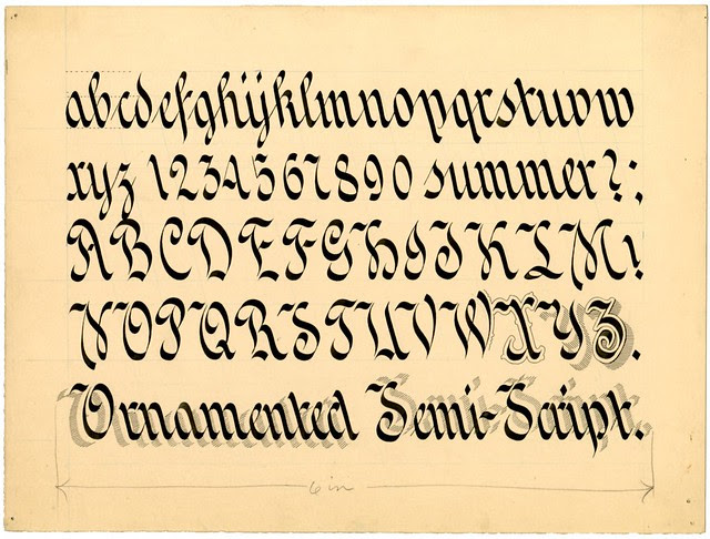 Zanerian typeform, early 20th century - Ornamented Semi-Script