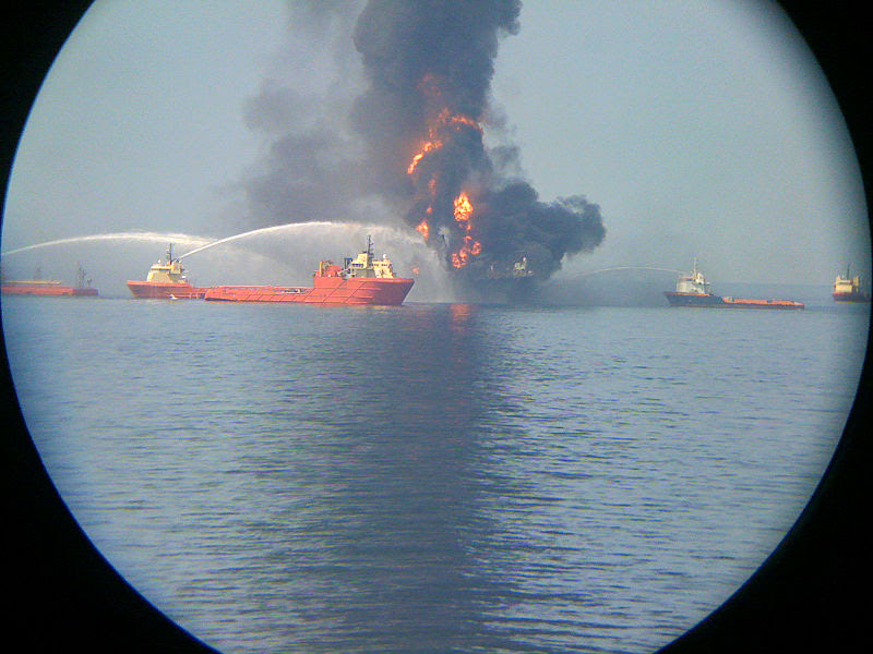 File:Deepwater Horizon offshore drilling unit  view from the Laney  Chouest.jpg