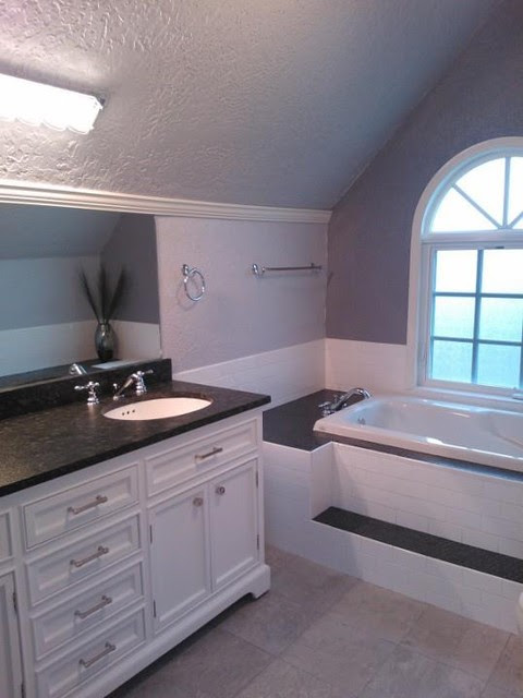 Master bath update - gray, charcoal and white - contemporary ...