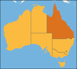 Map of Australia with  Queensland highlighted