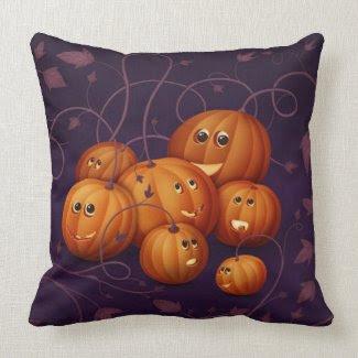 Happy Pumpkins Throw Pillow