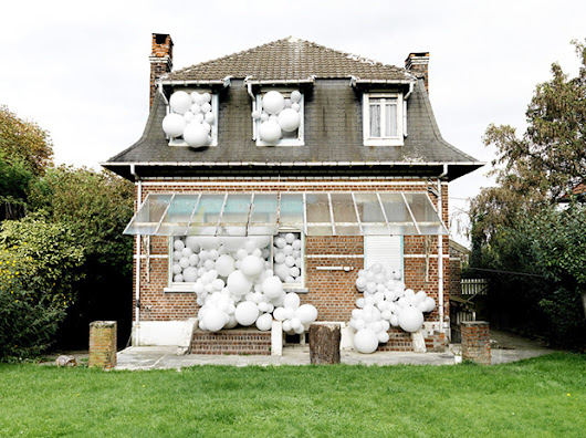 Extraordinary Photos of Ordinary Spaces Infested with White Balloons - Feature Shoot