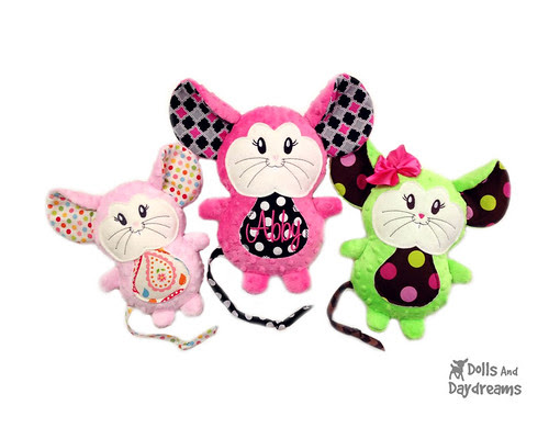 Mouse Stuffie Embroidery Machine ITH Pattern