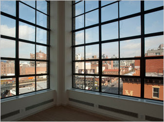 A large one-bedroom at 456 West 19th Street has new steel casement windows.