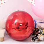 Red 16 in wide Glass Hanging Party Disco Mirror Ball