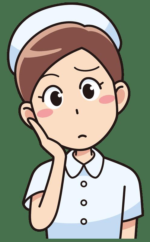 考える女性看護師無料イラスト素材 イラスト素材図鑑
